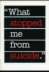 """What stopped me from suicide"""